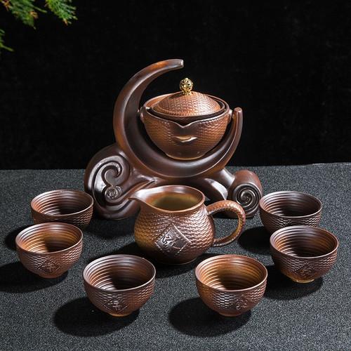 Brown Ceramic Teapot Pitcher & 6 Teacups Dispenser Gongfu Tea Set
