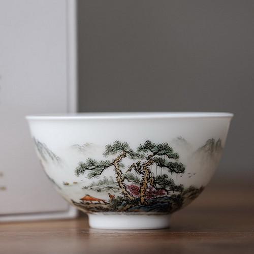 Yuanyuan Man Gong Yu Ni Shanshui Chinese Ceramic Gongfu Tea Tasting Teacup 150ml