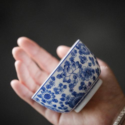 Qinghua Lianjing Baihua Chinese Ceramic Gongfu Tea Tasting Teacup 130ml