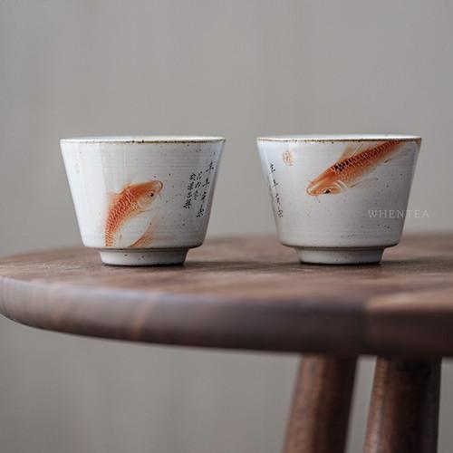 Hand-painted Fish Opera Official Kiln Chinese Ceramic Gongfu Tea Tasting Teacup 100ml