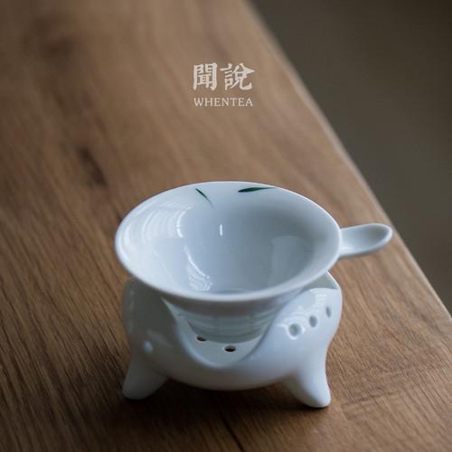 Hand Painted Green Bamboo Porcelain Gongfu Tea Strainer