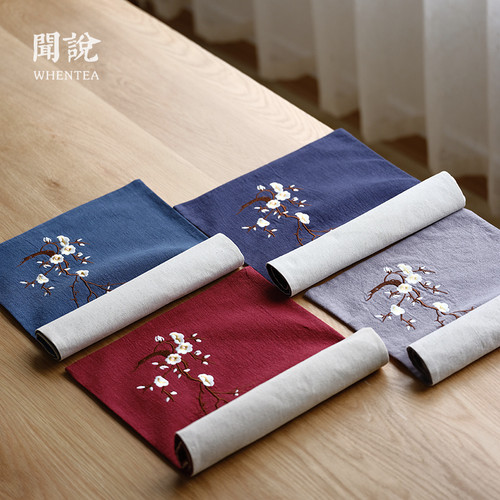 Ren Wen Plum Embroidery Cotton Linen Placemat for Gongfu Tea Ceremony