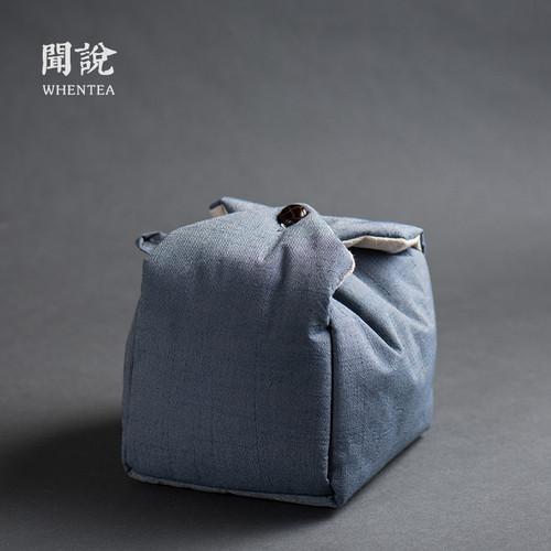 Retro Blue Portable Teapot Teacup Tea Set Pouch Travel Storage Bag