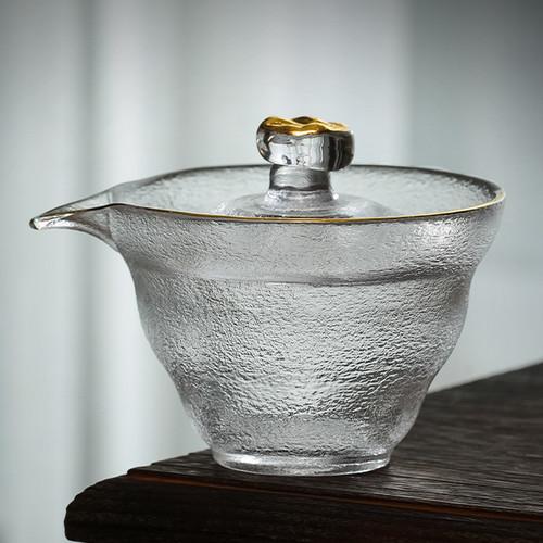 Frosted Gold Edge Glass Gongfu Tea Gaiwan Brewing Vessel 150ml