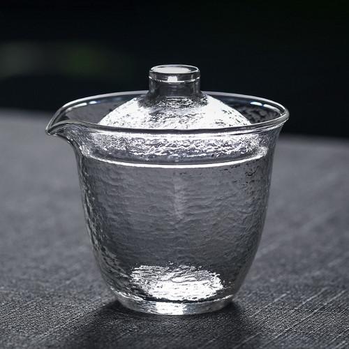 Chui Wen Frosted Glass Gongfu Tea Gaiwan Brewing Vessel 200ml
