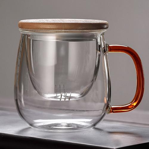 9680 Bee Glass Loose Leaf Tea Mug with Infuser 430ml