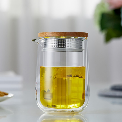 9700 Double Layer Glass Loose Leaf Tea Mug with Infuser 260ml