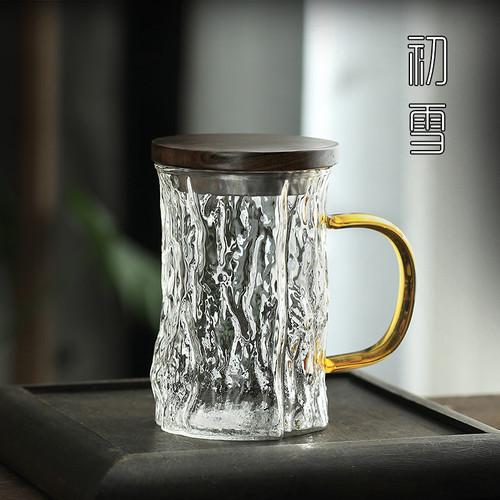 9028 Shu Wen Glass Tea Mug with Lid 300ml