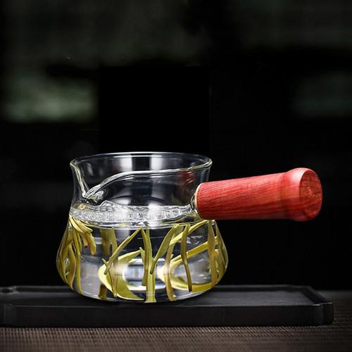 Side Handle Fu Dai Glass Fair Cup Of Tea Serving Pitcher Creamer 260ml
