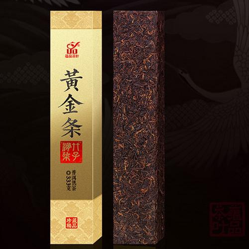YUNPIN Brand Golden Strips huazhu Liangzi Pu-erh Tea Brick 2018 333g Ripe