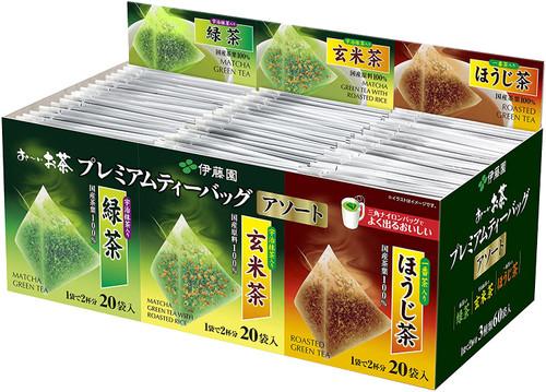 Ito En Itoen Oi Tea Premium  Green Tea, Genmai Cha, Hoji Cha Assorted 60 Bags