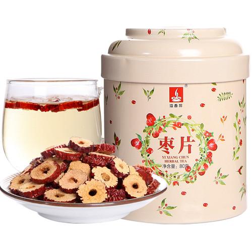 YIXIANGCHUN Brand Dried Seedless Chinese Red Date Ziziphus Jujube Slices Herbal Tonics Tea 80g