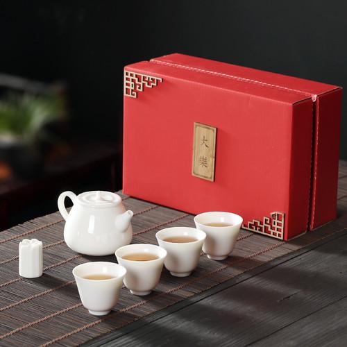 White Jade Porcelain Kungfu Tea Teapot And Teacup Set