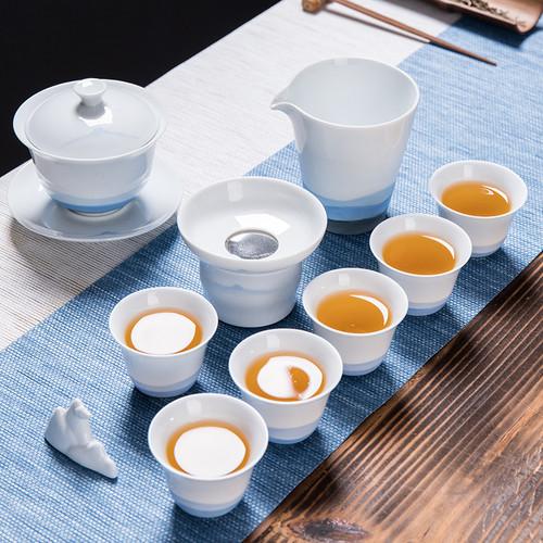 Hand Drawn Distant Mountains Porcelain Kungfu Tea Teapot And Teacup Set