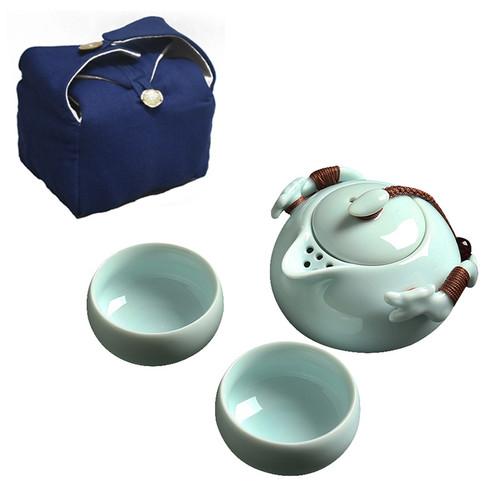 Dragon Handle Travel Ceramic Kungfu Tea Teapot And Teacup Set