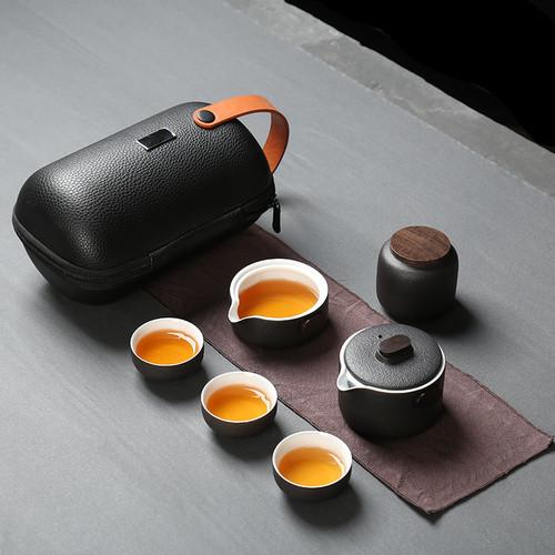 Retro Portable Ceramic Kungfu Tea Teapot And Teacup Set