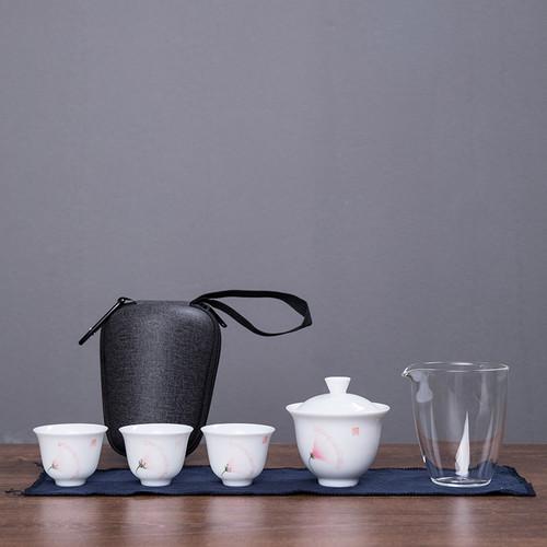 Jade Mud Hand-painted White Porcelain Kungfu Tea Teapot And Teacup Set