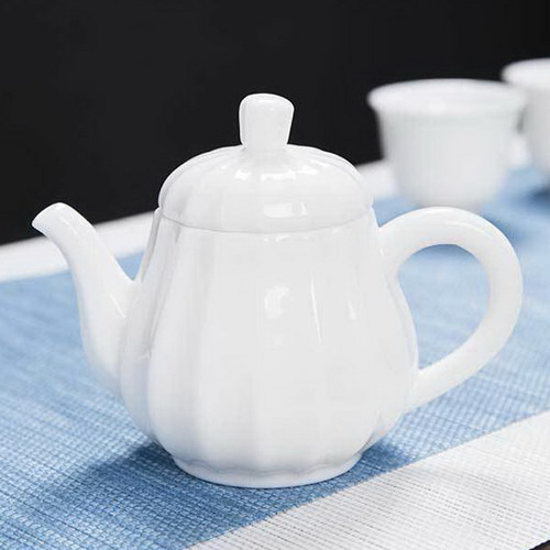 Pumpkin White Jade Porcelain Chinese Kung Fu Tea Teapot 150ml