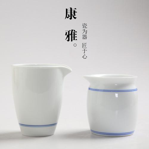 Double Line Porcelain Fair Cup Of Tea Serving Pitcher Creamer