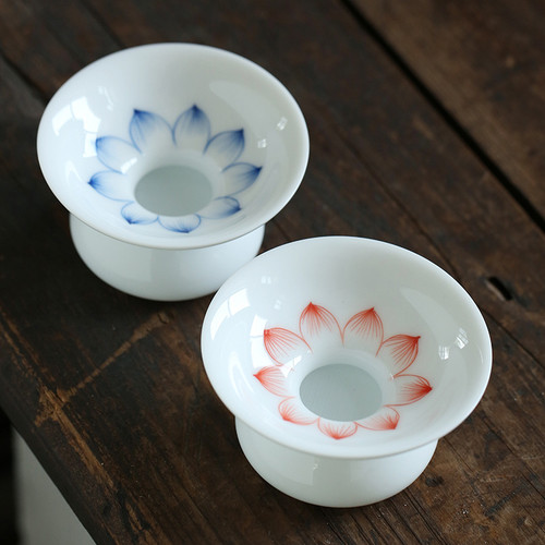 White Jade Lotus Porcelain Gongfu Tea Strainer