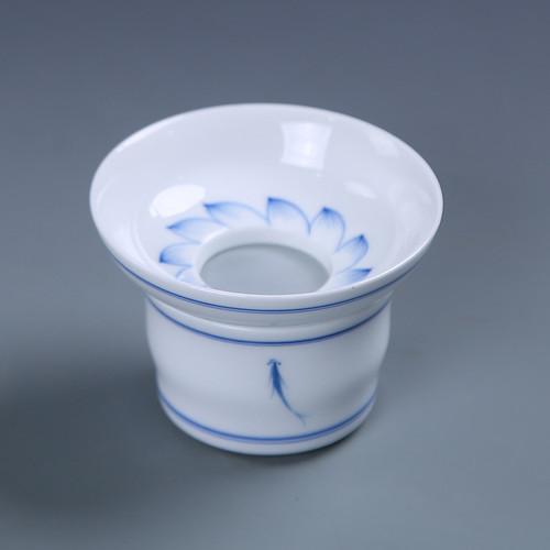 Double-line Qinglian Fish Painted Porcelain Gongfu Tea Strainer