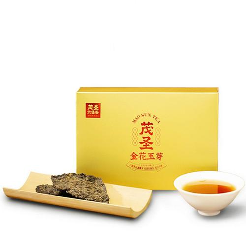 MAOSHENG Brand Golden Flower Jade Bud Premium Grade Liu Bao Hei Cha Dark Tea Brick 2015 400g