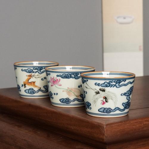 Dou Cai Qing Hua Ceramic Gongfu Tea Tasting Teacup 70ml