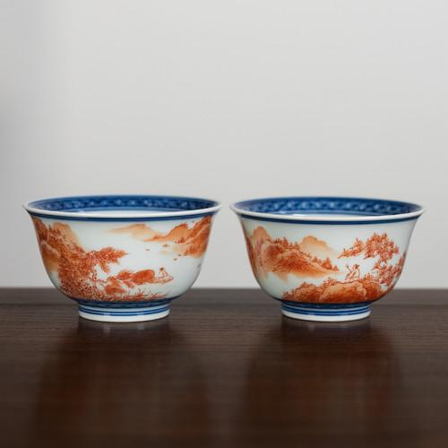 Dou Cai Fan Hong Ceramic Gongfu Tea Tasting Teacup 90ml