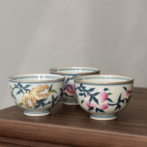 Fu Lu Shou Ceramic Gongfu Tea Tasting Teacup 90ml