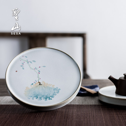 Hand-painted Ru Kiln Ceramic Tea Tray 168x168x15mm