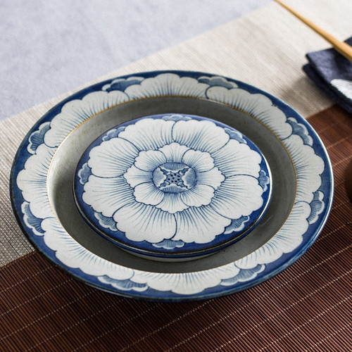 Hand Painted Peony Water Storage Ceramic Tea Tray 200x200x30mm