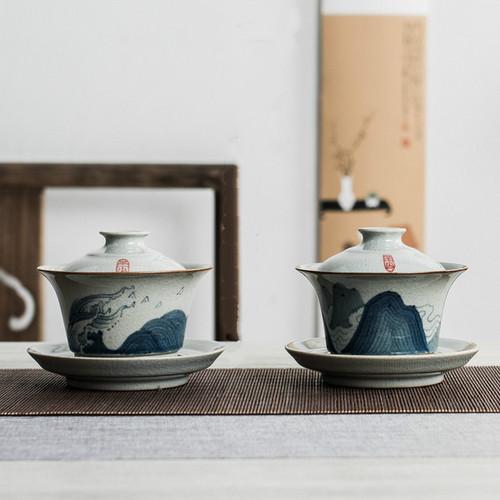 Qing Hua Ceramic Gongfu Tea Gaiwan Brewing Vessel 180ml