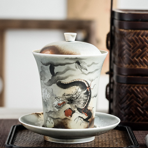 Hand Drawn Dragon Ceramic Gongfu Tea Gaiwan Brewing Vessel 200ml