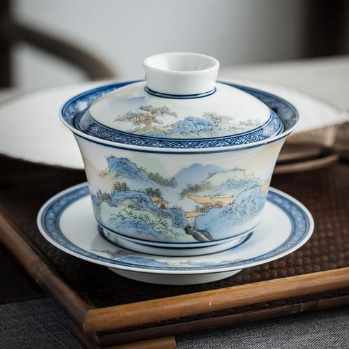 Qing Lv Shan Shui Ceramic Gongfu Tea Gaiwan Brewing Vessel 180ml