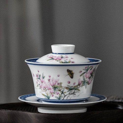 Qing Hua Dou Cai Yu Lan Hai Tang Ceramic Gongfu Tea Gaiwan Brewing Vessel 180ml