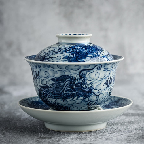 Qing Hua Long Teng Si Hai Ceramic Gongfu Tea Gaiwan Brewing Vessel 180ml
