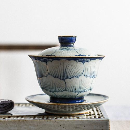 Qing Hua Peony Camellia Ceramic Gongfu Tea Gaiwan Brewing Vessel 180ml