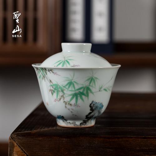 Bamboo Shadow Lake Stone Camellia Ceramic Gongfu Tea Gaiwan Brewing Vessel 160ml