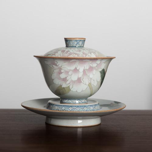 Wu Cai Peony Ceramic Gongfu Tea Gaiwan Brewing Vessel 180ml