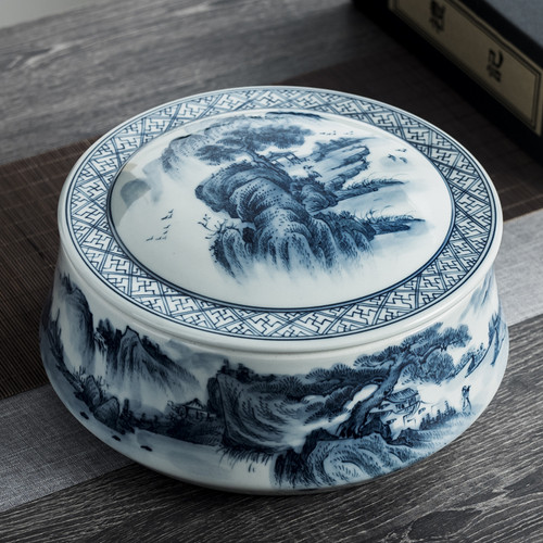 Qing Hua Shan Shui Ceramic Food Container Tea Caddy