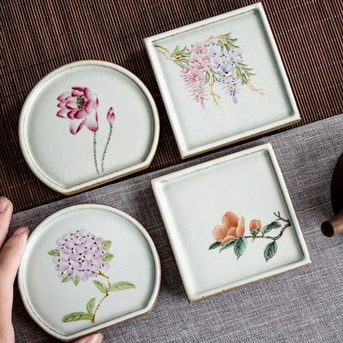 Fen Cai Hua Hui Ceramic Cup Coaster For Gongfu Tea Ceremony