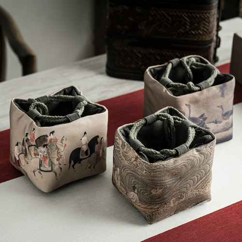 Jiang Shui Ren Wen Ya Xun Teapot Teacup Tea Set Pouch Travel Storage Bag