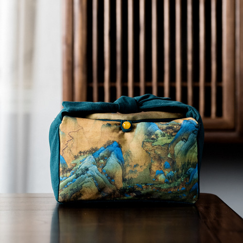 Cotton Linen Ancient Painting Travel Storage Bag Soft Case for Kung Fu Tea Set 3 Piece Set 240x145x150mm