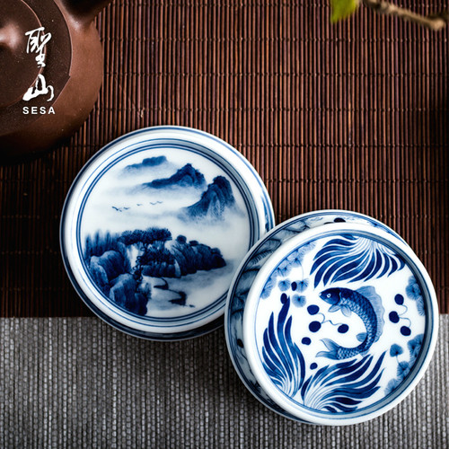 Gong Bi Qing Hua Ceramic Teapot Gaiwan Lid Holder Stand Kung Fu Tea Ceremony Accessory