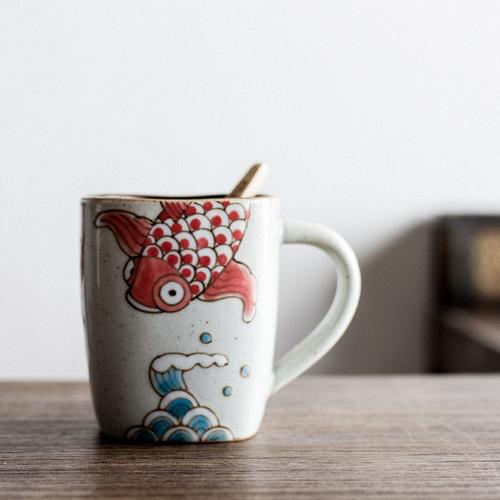 Hand Drawn Big Fish Ceramic Tea Mug 350ml