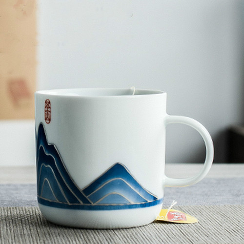 Qing Hua Yin Yuan Shan Ceramic Tea Mug 300ml