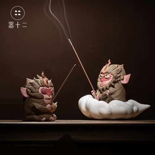 Sun Wu Kong Ceramic Stick Incense Holder