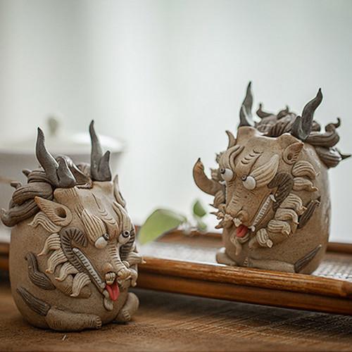 Qi Lin Ceramic Incense Cones Holder Ash Catcher Tray