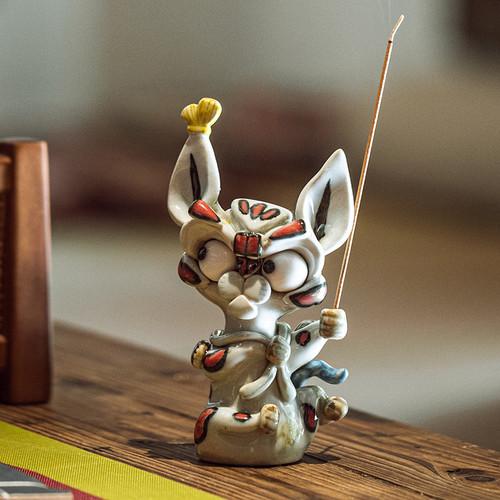 Fox Cat Ceramic Stick Incense Holder