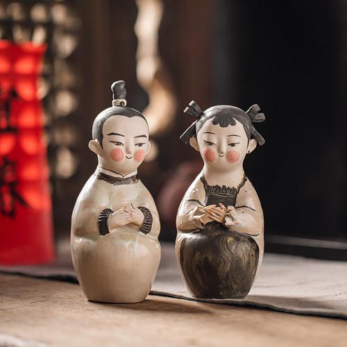Golden Boy Jade Girl Ceramic Tea Pet Table Decoration Ornament